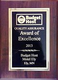 Budget Host Inn Quality Assurance, Award of Excellence for 2013